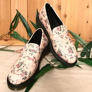 Dr Martens Addy Pink Roses Leather Loafers